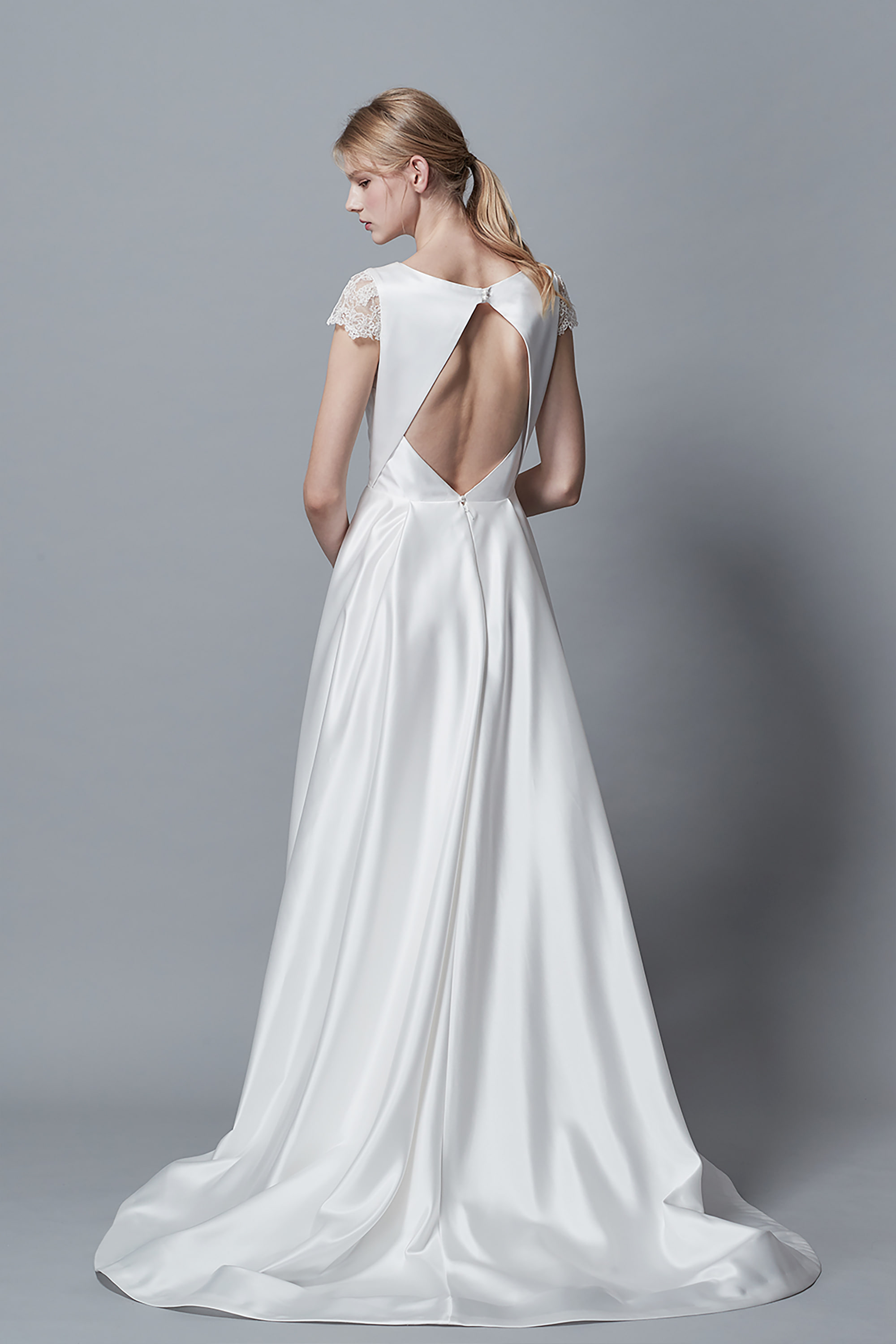 Ciel Blanc, A LINE WEDDING DRESS, SATIN WEDDING DRESS, CAP SLEEVE DRESS