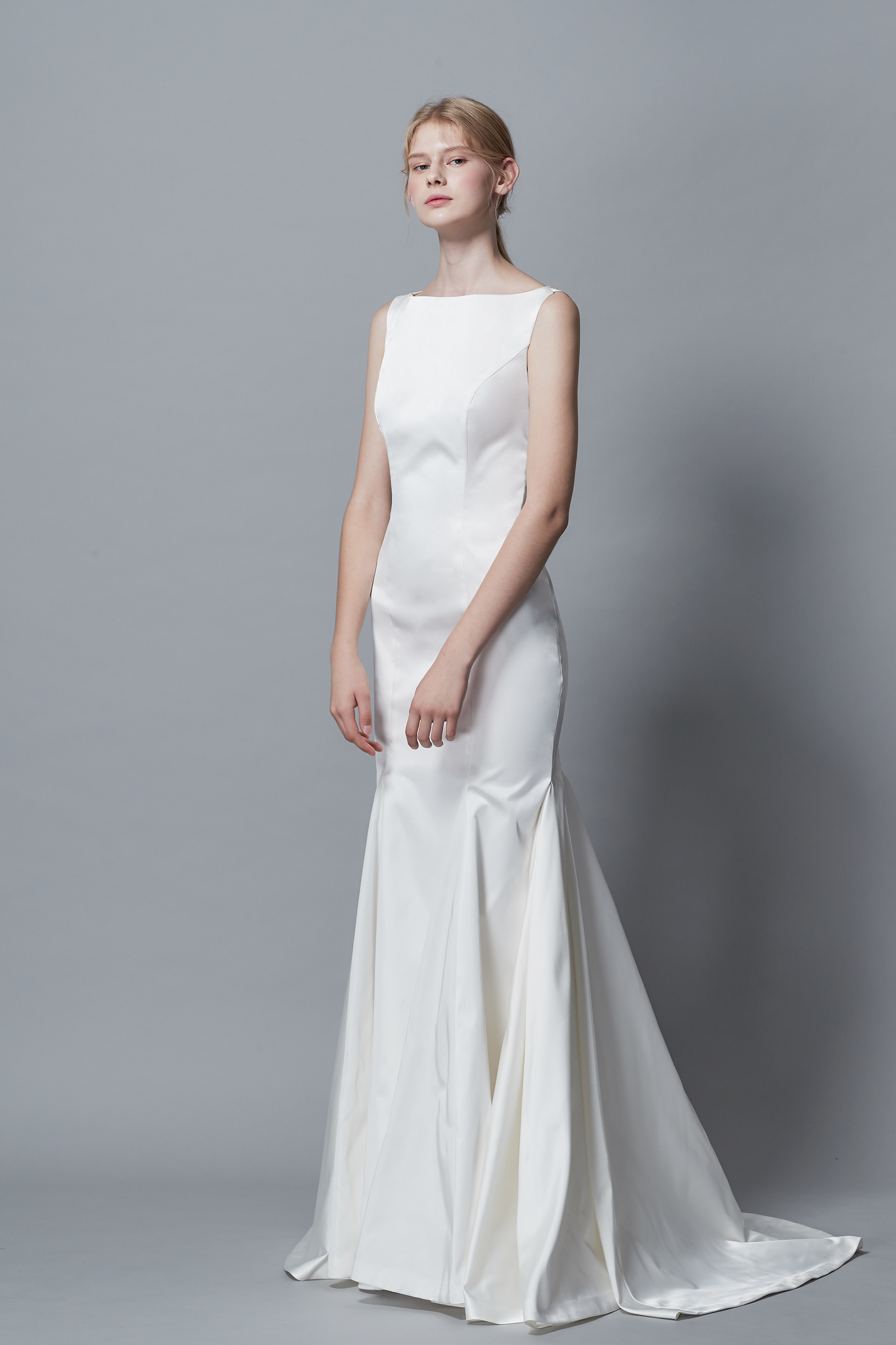 Ciel Blanc, CL BRIDAL, MERMAID WEDDIGN DRESS, TAFFETA, BOAT NECK